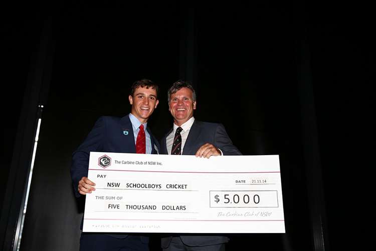 Presentation of Scholarship Cheque by Chairman to NSW Schoolboys Cricket